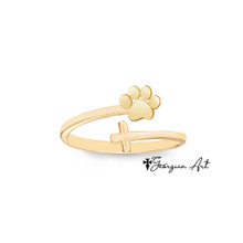 Double Wrap Sideways Cross Ring With Paw Print - Choose Your Metal