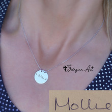 Engraved Handwritten Small Disc Necklace  - Choose Your Metal