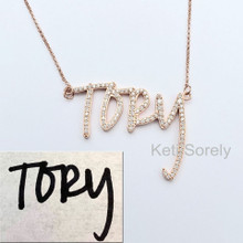 Custom Handwriting Necklace with CZ Stones - Choose Metal