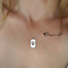 Mini Dog Tag with Paw Print  & Heart - Choose Your Metal.