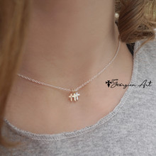 Triple Color Mini Crosses Charm Necklace For Kids or Adults - Choose Metal