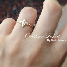 "French Lily Ring ""The fleur de lis"" in Yellow, Rose or White  Gold"