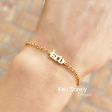 Mini Initials Bracelet or Anklet With Gothic Letters - Choose Your Metal