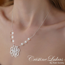 Handmade Monogram Initials Necklace with Freshwater Pearl Beads