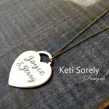 Engraved Heart Necklace - Sterling Silver or Solid  Karat Gold