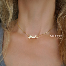 Fancy Script Name Necklace With Box Chain  -  Choose Your Metal