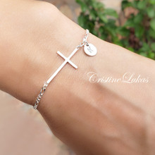 Sideways Cross Bracelet With Personalized Initial  - Choose Your Metal