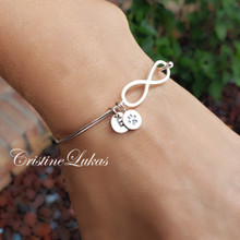 Infinity Bangle with Paw Print & Initial in Sterling Silver