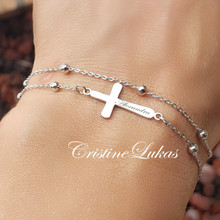Personalized Sideways Cross Bracelet or Anklet  With Layered Beaded Double Chain