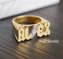 Personalized Man's Two Tone Name Ring With Diamonds- Choose Your Metal