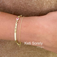 Personalized Layered Bar Bracelet with  Beaded Chain & Birthstone, Choose Metal