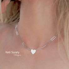 Paperclip Chain Necklace With Personalized Heart -Choose Metal