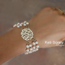 Large Fresh Water Bracelet with Monogrammed Initials - Sterling Silver