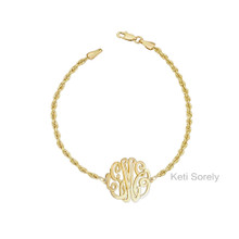 Personalized Monogram Bracelet With Rope Chain - Choose Metal