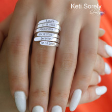 Engraved Large Family Ring With Names & Dates - Choose Your Metal