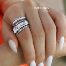 Engraved Large Vintage Style Name or Date Ring - Choose Your Metal
