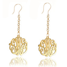 Personalized Handmade  Long Monogram Initials Earrings - Choose Metal
