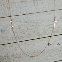 Dainty Anchor Necklace With Cross - White Gold, Yellow Gold or Rose Gold