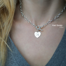 Engraved Heart Necklace with Large Chain& Toggle Clasp - Choose Your Metal