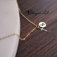 Mini Cross Necklace with Initial Charm - Choose Your Metal