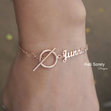 Personalized Name Bracelet, Toggle Clasp - Choose Your Metal