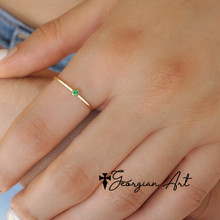 Personalized Mini Birthstone Ring - Choose Your Metal