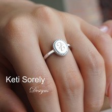 Twist Border Oval Signet Ring with Engraved Monogram Initial - Choose Metal