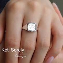 Twist Border Square Signet Ring with Engraved Monogram Initials - Choose Metal