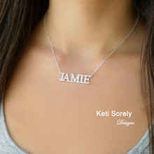 Personalized Name Necklace with Cubic Zirconia Stones or Diamonds  - Choose Metal