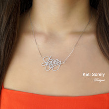 Large Name Necklace with Small Cubic Zirconia Stones or Diamonds  - Choose Metal