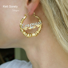Small Two Tone Diamond Name Earrings, Bamboo Hoop Earrings With Heart , Kid or Adult Size