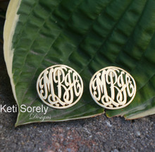 Monogram Initials Stud Earrings with Frame Choose Your Metal