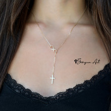 Mini Lariat Cross Necklace with Infinity Symbol - Choose Metal