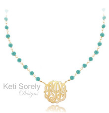 Turquoise Beaded Stone Necklace with Initials - Also Available in Amethyst, Ruby, Pearl, Turquoise, Onyx, Rose Quartz