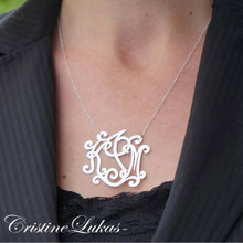 Swirly Script Letters Monogrammed Initials Necklace - Choose Your Metal