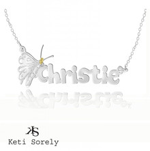 Personalized Handmade Butterfly Name Necklace For Kids