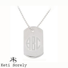 Men's ID Tag With Modern Letter Initials - Stainless Steel With Sterling Silver