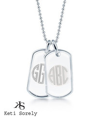 Family ID Tags With Modern Letter Initials For Man - Stainless Steel