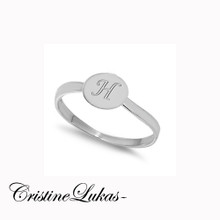 Hand Engraved Round Disc Initial Ring -  Sterling Silver Or White Gold