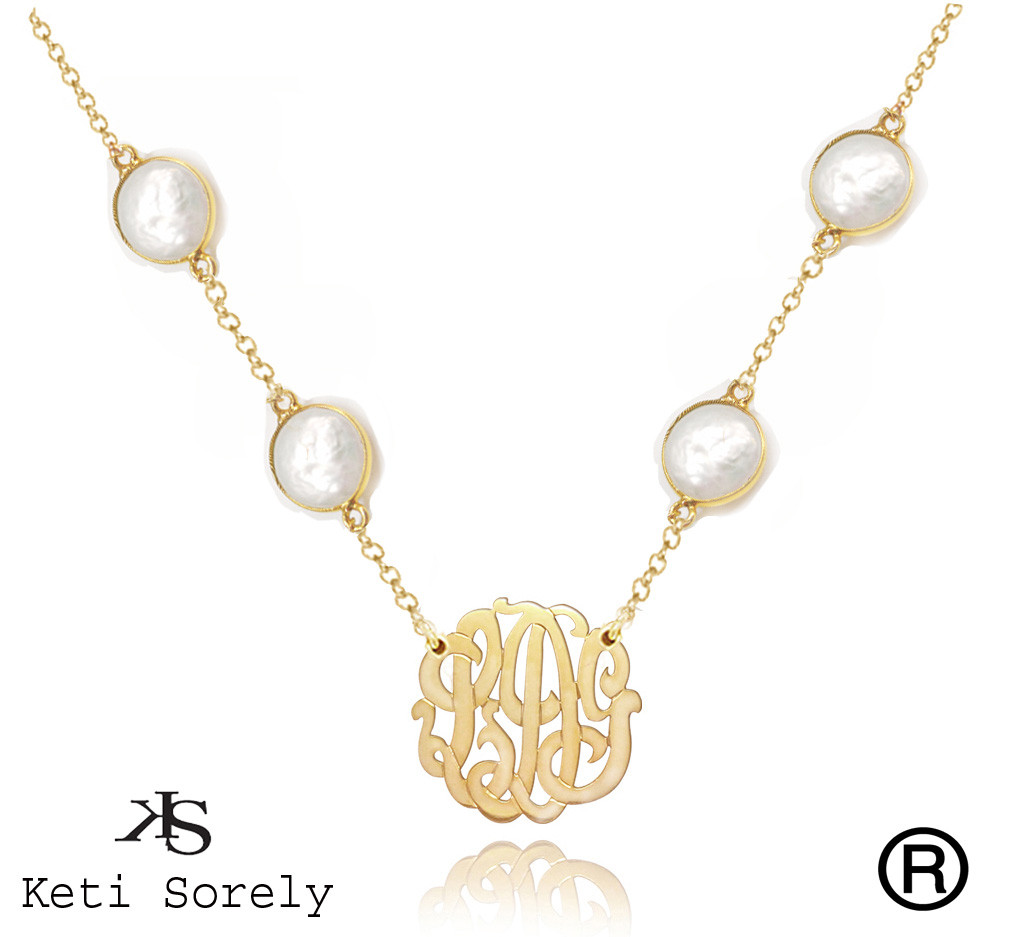 767f54423d082 White Pearl Necklace with Monogrammed Initials Charm - Available in  Turquoise, Amethyst, Ruby, Onyx and Rose Quartz