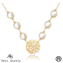 White Pearl Necklace with Monogrammed Initials Charm -  Also in Turquoise, Amethyst, Ruby, Onyx and Rose Quartz