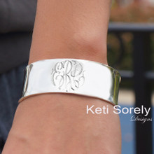Personalized Designer Cuff Bangle with  Engraved Initials -Sterling Silver