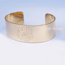 Personalized Cuff Bangle with  Hand Engraved Initials - Choose Your Metal