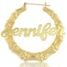 Celebrity Style Bamboo Earrings With Yellow Gold Overlay   Name Earrings