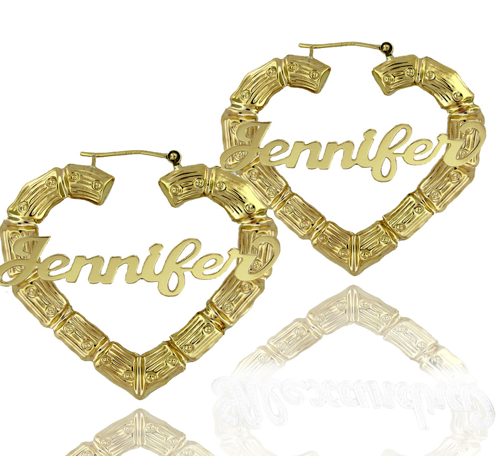 Large door knocker bamboo earrings with heart shape - your name ...
