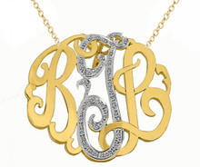 Reserved listing for GIna - 14K Two Tone Monogram Neckalce with Cz-s