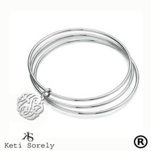 Stacking Bangle Set with Handcrafted Monogrammed Initials Charm - Choose Your Metal