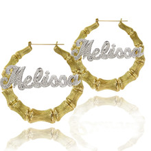 Celebrity Style Bling Bamboo Name Earrings with Diamond Imittation