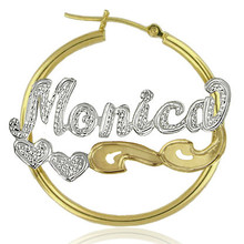 Hoop Name Earrings with Diamond Beading & Hearts - Two Tone
