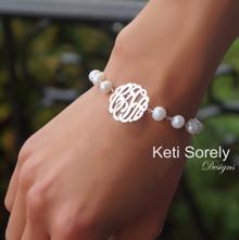 Fresh Water Bracelet with Monogrammed Initials - Choose Metal